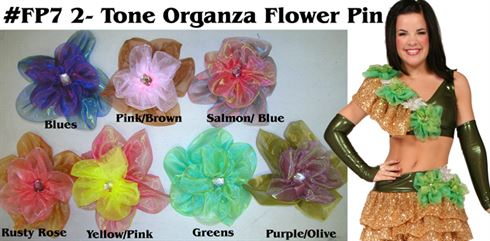 #FP7 2-Tone Organza Flower Pin|Pumpers Dancewear